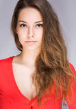 Stern and serious beauty. Stern and serious looking young brunette beauty Royalty Free Stock Image