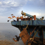 The stern of a ship. A ship was resting on the beach Stock Images