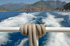 Stern of the ship with big rope Royalty Free Stock Photos