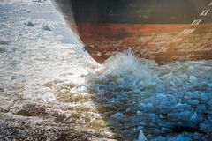 Stern of ship sailing along a river covered with ice floes in ea. Rly spring Stock Photos