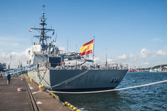 Stern of  Spanish warship in a harbor Stock Photo