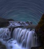 Stern-Spur mit Wasserfall Stockfotografie