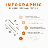 Stern, Sternschnuppe, Fallen, Raum, Sterne Infographics-Schablone f?r Website und Darstellung Linie graue Ikone mit Orange stock abbildung