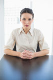 Stern stylish brunette businesswoman posing looking at camera Stock Photo
