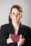 Stern Sunday school teacher. With her bible royalty free stock photo