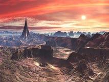 Stern-Tempel und Turbulenz-Abgrund auf ausländischer Wüsten-Welt stock abbildung