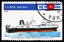 Stern trawler `Mar Caribe`, Cuban Fishing Fleet serie, circa 1978. MOSCOW, RUSSIA - MARCH 23, 2019: Postage stamp printed in Cuba shows Stern trawler `Mar Caribe stock photos