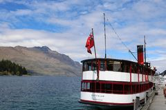 Stern of TSS Earnslaw at Queenstown Wharf, NZ Stock Photography