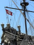 Stern of the turkish galleon. Fragment of an old warship stock image