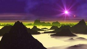 Stern UFO über ausländischem Planeten stock abbildung