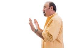 Stern ustalający mężczyzna dzwoni postój obrazy stock