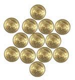 Stern von der Goldmünze auf weißem Hintergrund Stockfoto