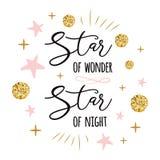Stern von Wunder Stern Nachtdes netten Weihnachtszeitzeichens mit goldenem nettem Gold, rosa Farben spielt die Hauptrolle vektor abbildung