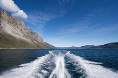 Stern wave from boat Royalty Free Stock Images