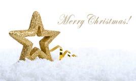 Stern-Weihnachtsdekoration des Gold fünf spitze Lizenzfreie Stockfotos