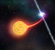 Sternabsorption durch ein schwarzes Loch Stockfotos