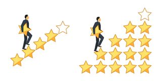 Sternbewertungskonzept Geschäftsmann, der auf den Treppenschritt in der Hand hält einen Stern, um fünf zu geben geht Feedback-Kon Stockbild