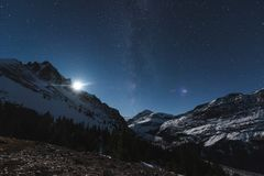 Sterne über Peyto See, Icefields-Allee, Alberta, Kanada Stockbilder