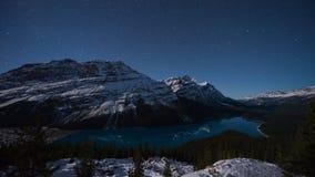 Sterne über Peyto See, Icefields-Allee, Alberta, Kanada Lizenzfreie Stockbilder