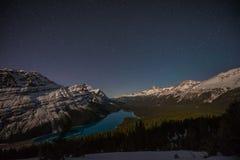Sterne über Peyto See, Icefields-Allee, Alberta, Kanada Stockfotos