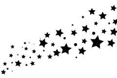 Sterne auf einem weißen Hintergrund Schwarzes Sternschießen mit einem eleganten Stern stock abbildung