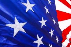 Sterne der amerikanischen Flagge u. Streifen Rot, Weiß u. Blau Stockfotografie