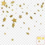 Sterne des Gold 3d Konfettifeier, Fallen golden Stockbilder