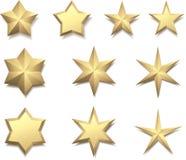 Sterne des Gold 3d lokalisiert auf Weiß Lizenzfreie Stockfotografie