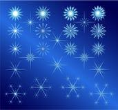 Sterne eingestellt für Weihnachten und Winter Lizenzfreie Stockfotos