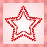 Sterne gemacht von den roten Herzen, gestaltet mit Herzgrenze Lizenzfreie Stockbilder
