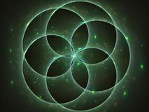 Sterne leuchtend hinter Kreisen lizenzfreie abbildung