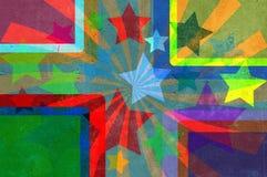 Sterne, Lichtstrahlen, Vierecke, grunge Hintergrund. Stockbilder