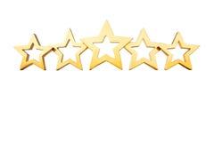 5 Sterne lokalisierten Goldweiß Lizenzfreies Stockbild