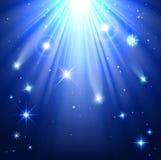 Sterne mit Strahlen des Lichtes Stockfotografie
