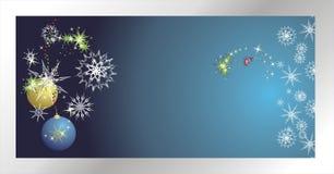 Sterne, Schneeflocken und Kugeln. Weihnachtsfahne Stockbild