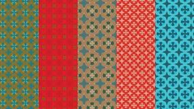 Sterne und Blumenmuster im Rot, im Grün und in der Bronze für Textil-, Gewebe- und Hintergrunddesigne lizenzfreie abbildung