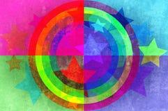 Sterne und Kreise grunge Hintergrund. Lizenzfreie Stockfotografie