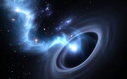 Sterne und Materialfälle in ein schwarzes Loch Stockfoto