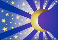 Sterne und Mond Lizenzfreies Stockbild