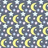 Sterne und Mond Gute Nacht- und der süßen Träumethema Stockbilder