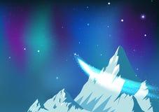 Sterne zerstreuen, der Komet, der auf nächtlichen Himmel mit Aurora, Fantasieastronomiekonstellations-Eisberge reist, landschaftl stock abbildung