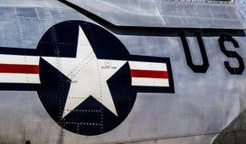 Sternenbanner auf einem US-Kampfflugzeug Stockfotos