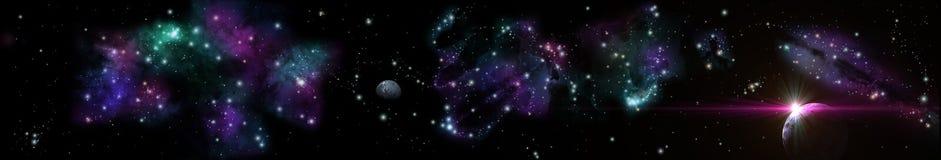 Sternenklare Landschaft des Panoramas Panorama des Universums lizenzfreies stockbild
