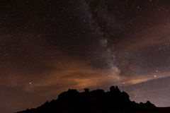 Sternenklare Nacht über Teneriffa stockbilder