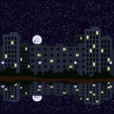 Sternenklare Nacht in der Stadt Auch im corel abgehobenen Betrag Stock Abbildung