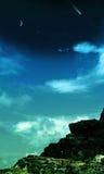 Sternenklare Nachtfelsiger Hintergrund Stockfotos