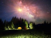 Sternenklarer Himmel über der Erde szenisch Lizenzfreie Stockfotografie