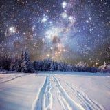 Sternenklarer Himmel in der schneebedeckten Nacht des Winters Lizenzfreies Stockfoto