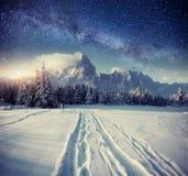 Sternenklarer Himmel in der schneebedeckten Nacht des Winters Fantastische Milchstraße Lizenzfreies Stockfoto