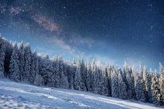 Sternenklarer Himmel in der schneebedeckten Nacht des Winters Fantastische Milchstraße Stockbilder